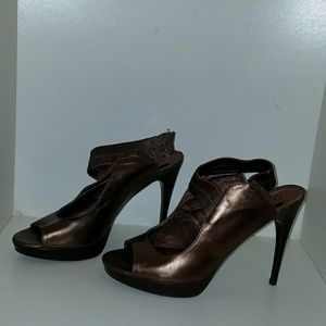 Nine west bronze open toes shoes